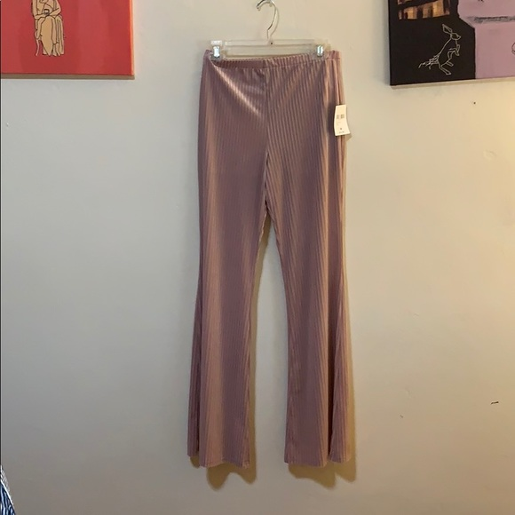 Forever 21 Pants - Forever 21 Pink Ribbed Flare Leg Pants